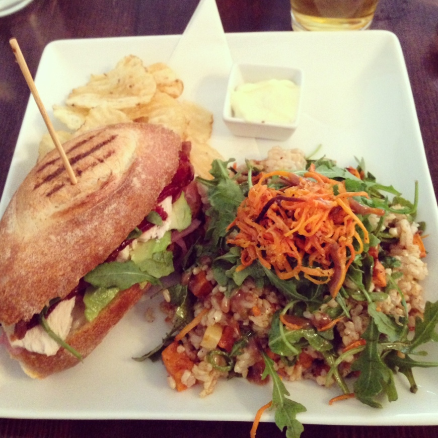 Chicken and Bacon Sandwich with Brown Rice Salad